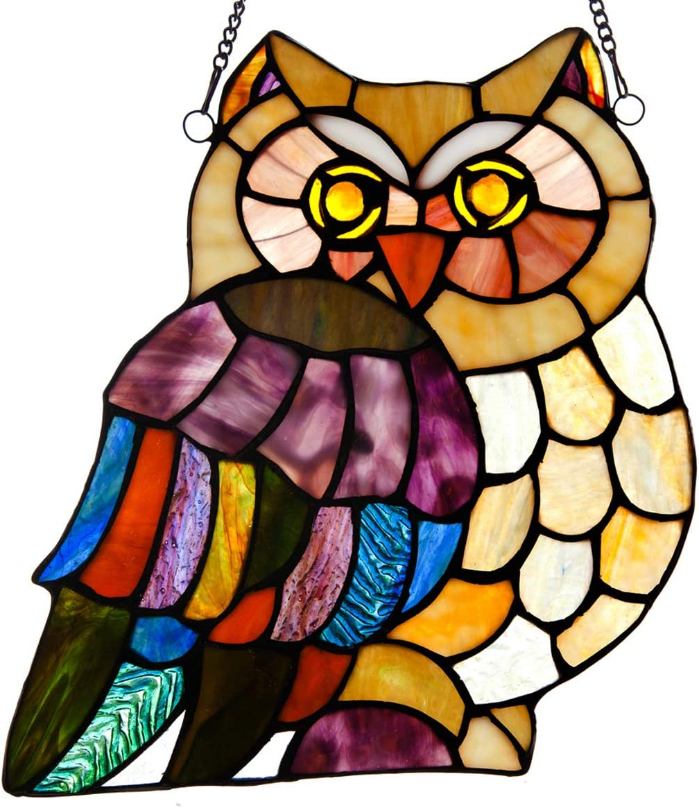 River of Goods Owl 9.75 Inch High Stained Glass Suncatcher Window Panel, Ivory, Purple, Orange