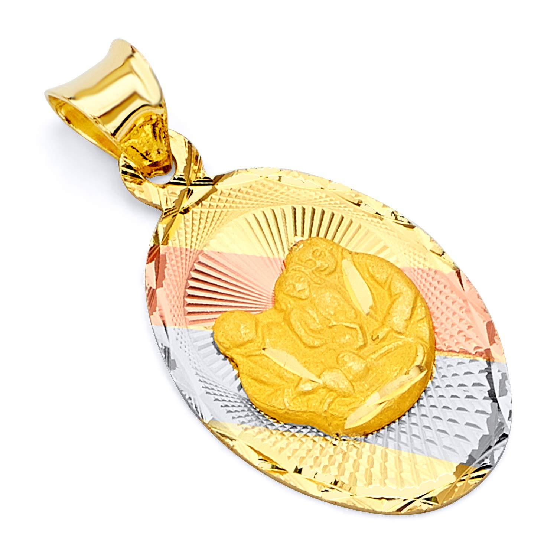 Wellingsale 14K Tri 3 Color Gold Polished Diamond Cut Religious Baptism Charm Pendant