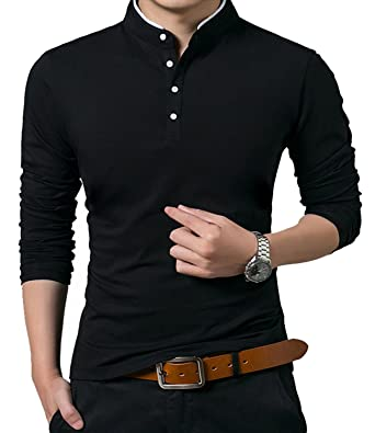a646576a3ea3 KUYIGO Men's Casual Slim Fit Shirts Long Sleeve Polo Shirts Cotton Shirts  Black Small