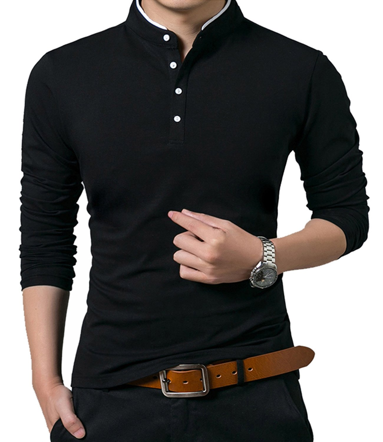 KUYIGO Men's Casual Slim Fit Long Sleeve Henley T Shirts Cotton Shirts (US X-Large, 01 Black)