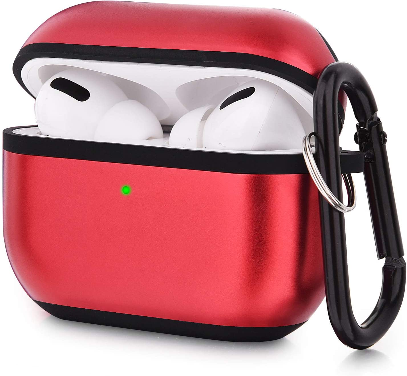 V-MORO Compatible AirPods Pro Case Cover, Metal Protective Carrying Case Skin with Keychain for Apple Airpod Pro Charing Case 2019 [Visible Front LED] (Red)