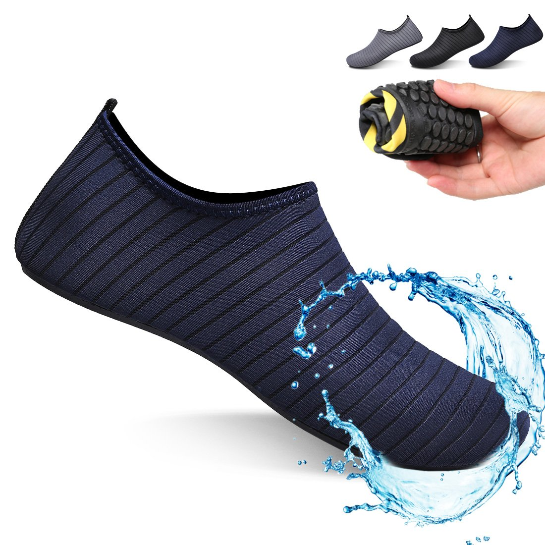 Ceyue Barefoot Water Shoes Breathable Water Sport Shoes Non-Slip Aqua Socks Beach Sandals for Men Women Navy 39/40