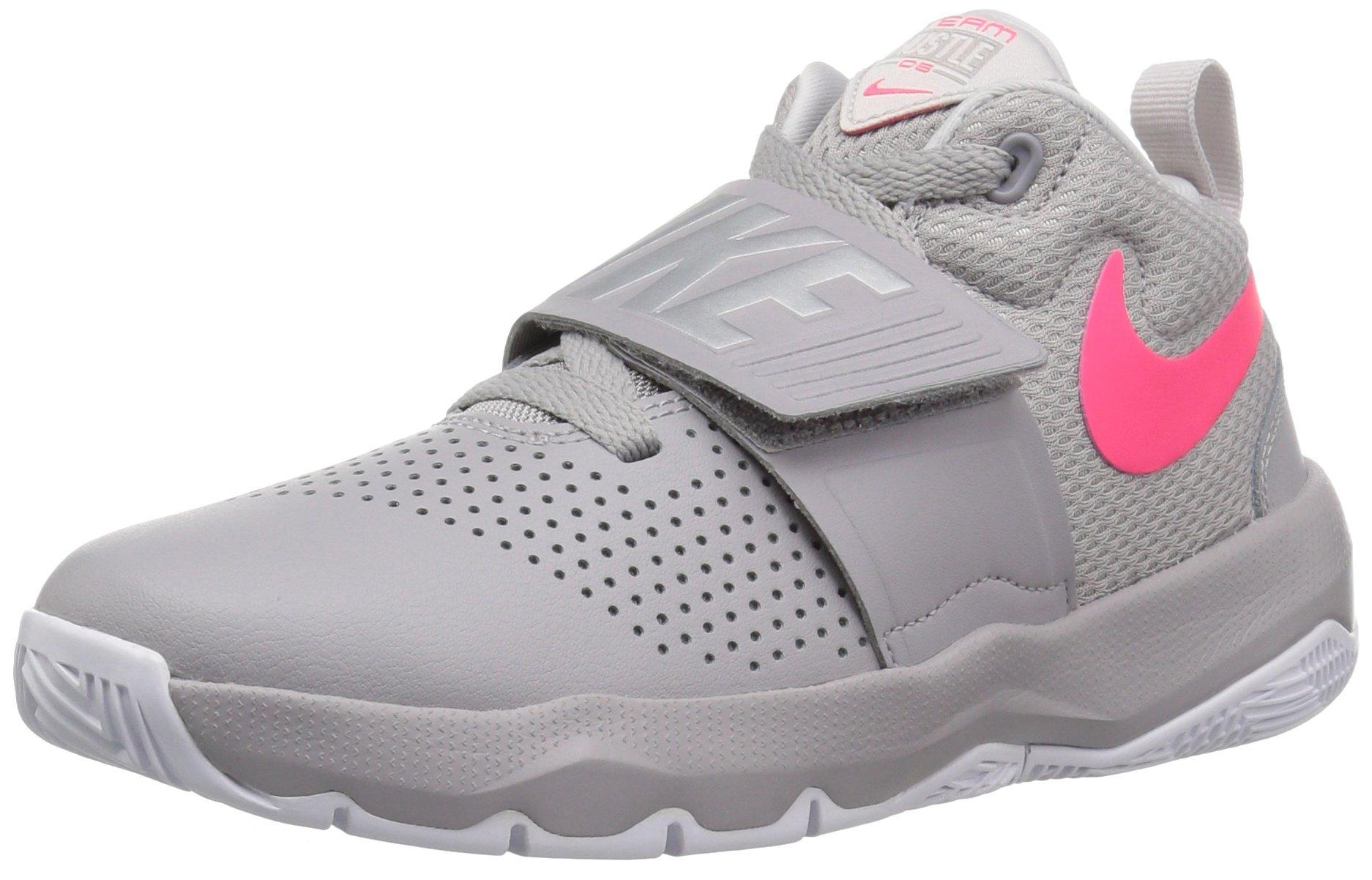 NIKE Boys' Team Hustle D 8 (GS) Basketball Shoe, Atmosphere Grey/Racer Pink-Vast Grey, 5Y Youth US Big Kid