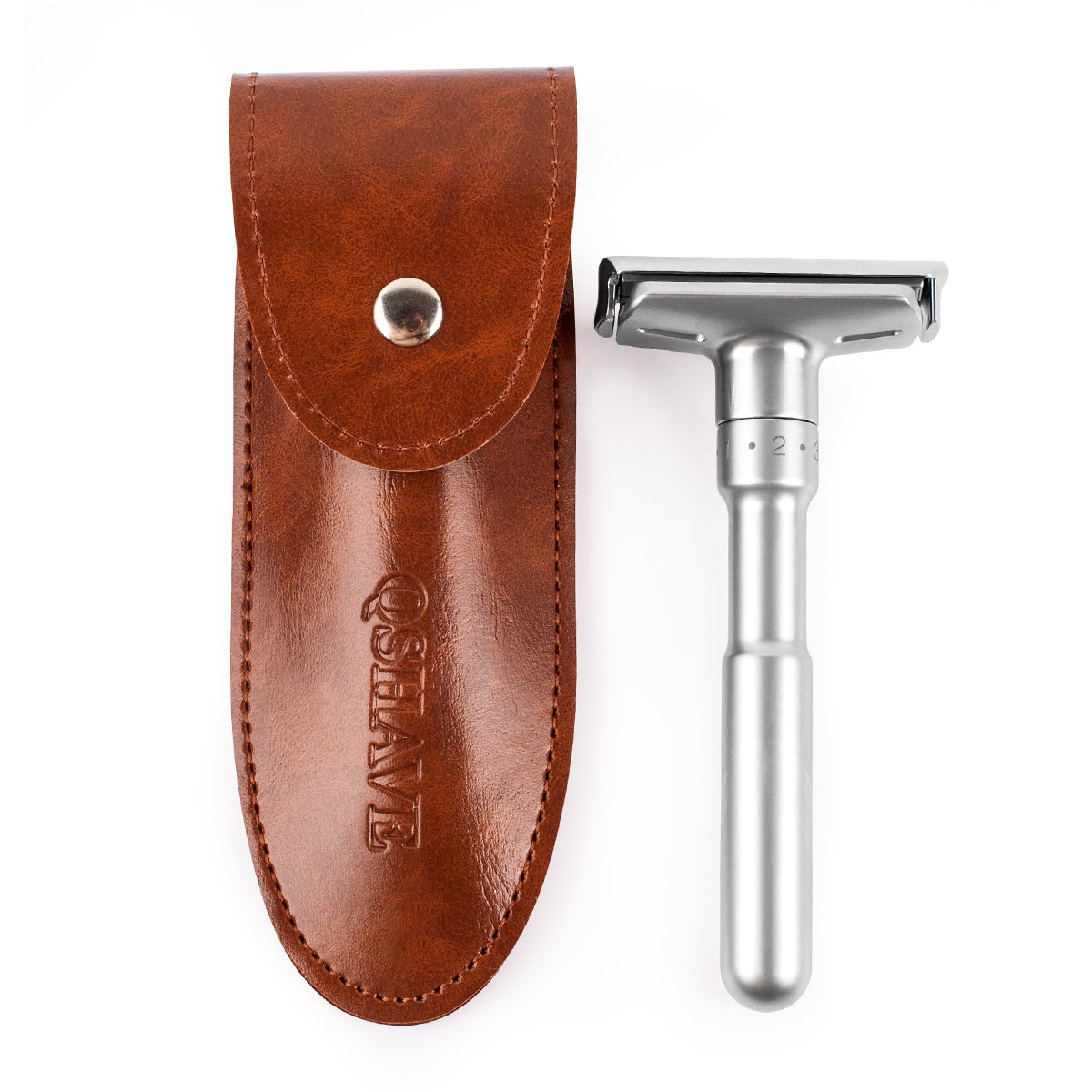 QSHAVE PU Leather Razor Travel Case Suitable for All Merkur MINGSHI WEISHI Parker Safety Razor, Brown