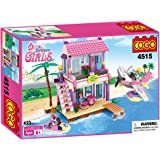 COGO Dream Girls Blocks Beach House Pink Friends Plastic Toys Seaside Villa Christmas Birthday Gift for Girls Building Blocks Construction Play Set Compatible with Lego Girls 423 Pcs 4515