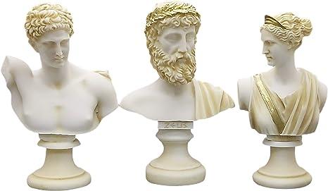 Set 5 Busto Testa Dio Zeus Artemis Afrodite Hermes Apollo Greco Romano Statua