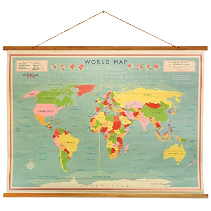 Old Vintage Style Hanging Wall Map: Amazon.co.uk: Kitchen & Home on