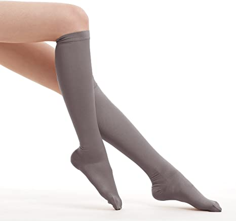 Fytto 1020 Women S Compression Socks Opaque 15 20mmhg Hosiery Flight Stockings Smooth Knit Professional Support For Business Travel Medium Grey Classic Amazon Co Uk Health Personal Care