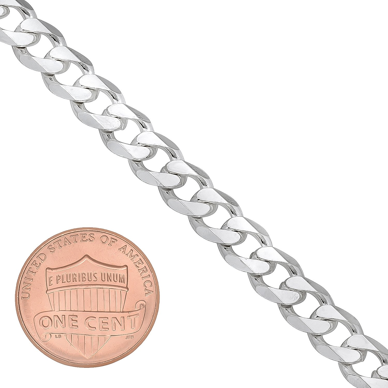 Italian 6.5mm 925 Sterling Silver Nickel-Free Beveled Cuban Curb Link Bracelet, 7'' + Cleaning Cloth by The Bling Factory (Image #3)