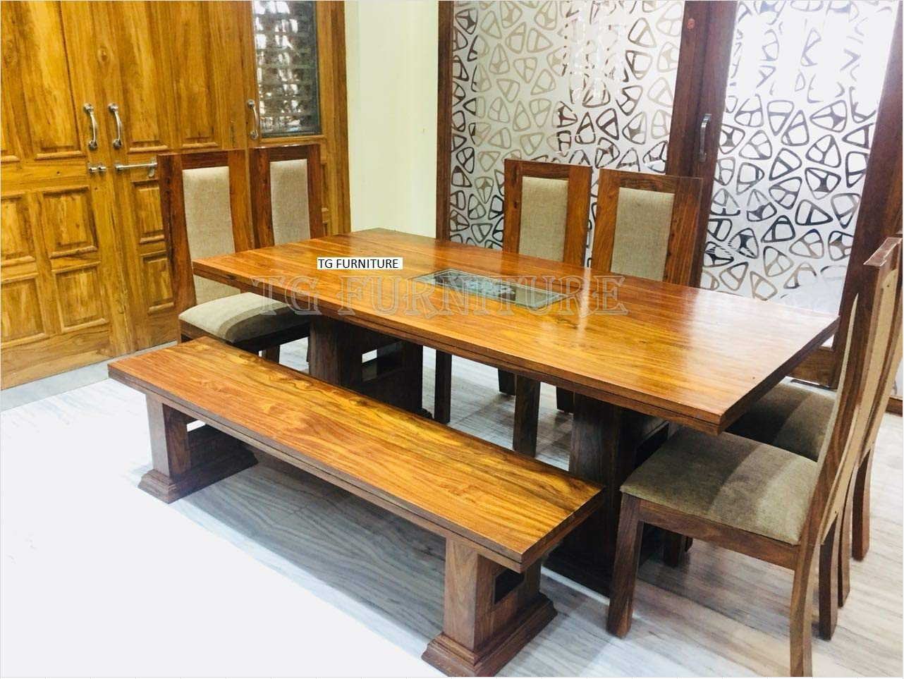 Tg furniture rosewood dining table set 6 seater with bench big size amazon in home kitchen