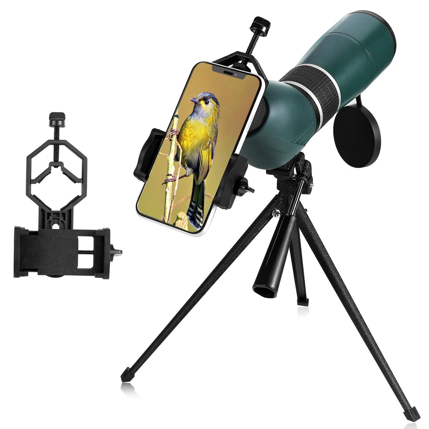MaxUSee 20-60x60 Zoom HD Spotting Scope with Tripod, Carrying Bag and Phone Adapter, BAK4 Prism Full Multi-Coated Lens for Target Shooting Hunting Bird Watching Wildlife Scenery Moon Viewing by MaxUSee