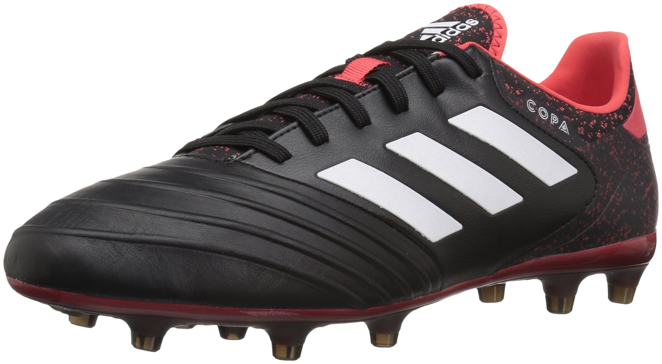 adidas Men's Copa 18.2 Firm Ground Soccer Shoe, Black/White/Real Coral, 12 M US
