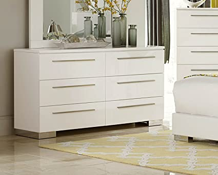 Amazon Com Lisle 6 Drawer Dresser In White High Gloss Lacquer Kitchen Dining