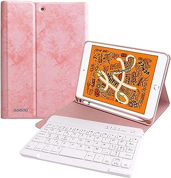 Funda Teclado para iPad Mini 5 2019/Mini 4 2015, Funda 7.9 con Teclado Español (Incluye Letra Ñ) Bluetooth Inalámbrico y Bandeja de Pluma para iPad ...
