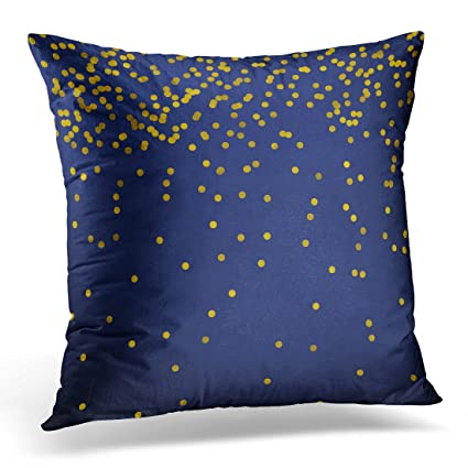 tomkeys throw pillow cover black confetti new year golden on nevy blue gold polka dots navy