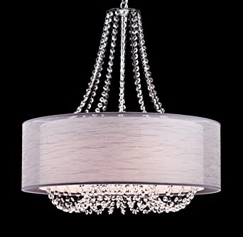 Yobo lighting modern drum crystal chandelier pendant lighting yobo lighting modern drum crystal chandelier pendant lighting chrome finish 6 light fixtures aloadofball Images
