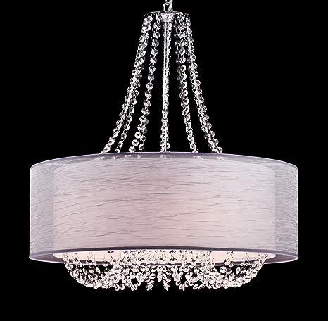 Yobo lighting modern drum crystal chandelier pendant lighting yobo lighting modern drum crystal chandelier pendant lighting chrome finish 6 light fixtures mozeypictures Images