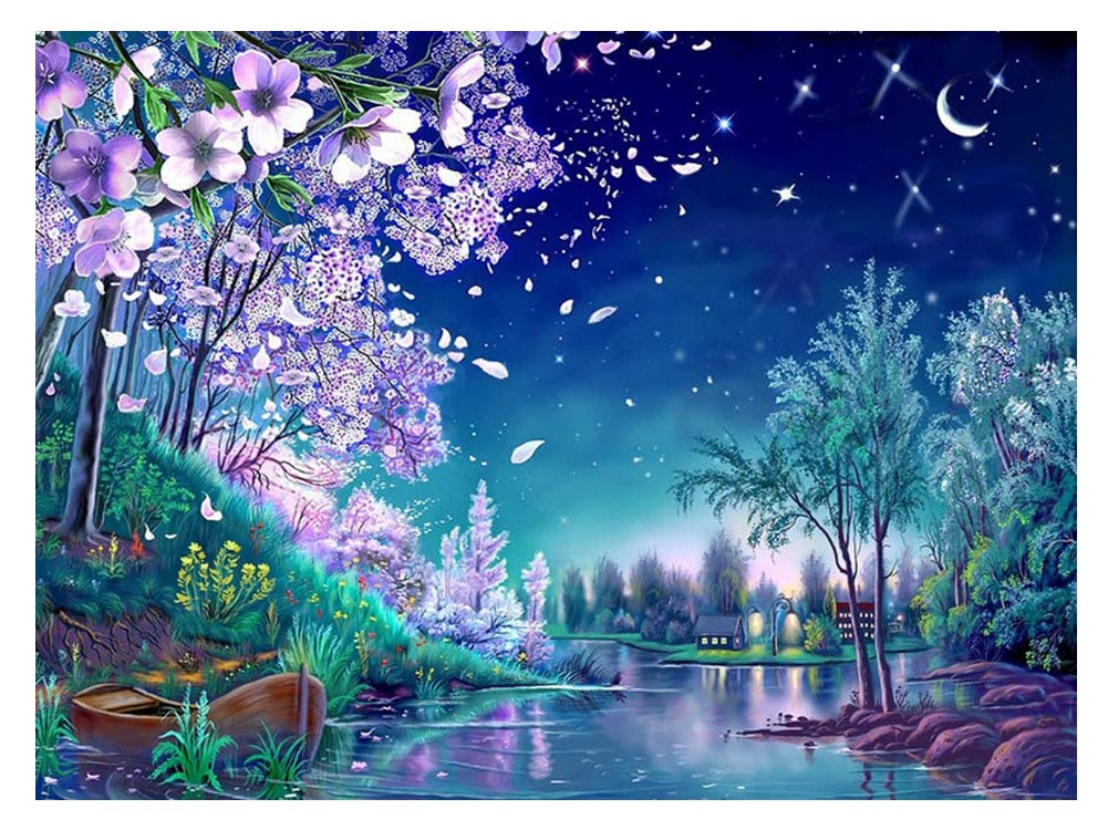 Mobicus DIY Diamond Painting Starry Night Landscape Full Drill Rhinestones Cross Stitch Kits Handmade Embroidery Crafts,12X16inch(Including Frame)