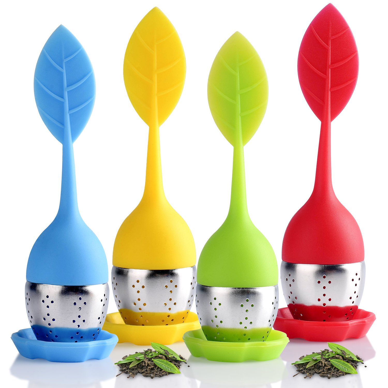 Houswill™ 4 Pack of Silicone Tea Infuser,Tea filters Loose Leaf Tea Strainers, Long-Handled, Stainless Steel with Drip Tray Perfect for Single Serve Cup ,Mug, Tea Cup,Gift Box for Friends