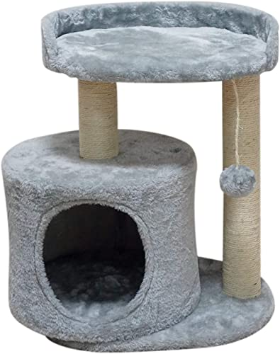 MIAO PAW Cat Tree Tower Condo Furniture Activity Center Kitten Play House Sisal Scratching Posts Large Platforms and a condo Grey