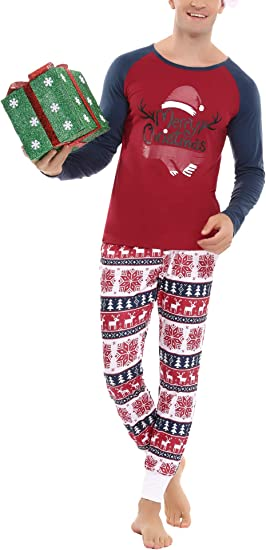 Aiboria Christmas Pajamas Matching Family Pj Set for Men Women Xmas Snowflake Sleepwear Longuewear