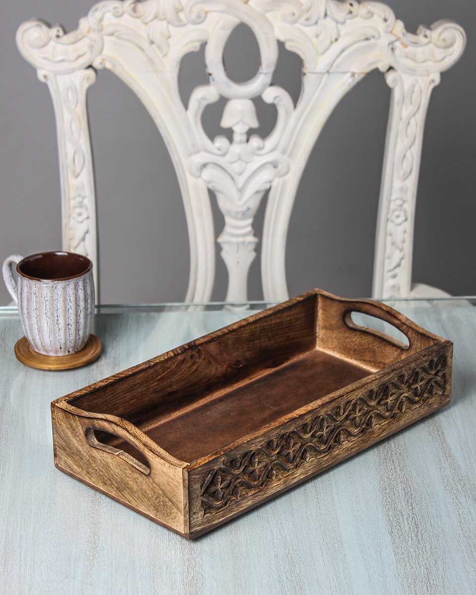 hand carved serving tray