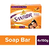 Santoor Sandal and Turmeric Soap, 150g (Pack of 4)