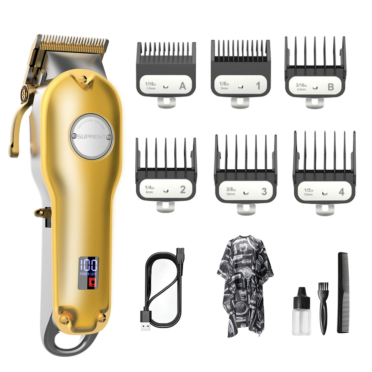 Hair Clippers for Men Professional SUPRENT 5 hrs Cordless Hair Clippers, Hair Cutting For Home Barber Salon,Hair Trimmer For Men, Women & Kids, Haircut Kit For Rechargeable LED Display, Gold