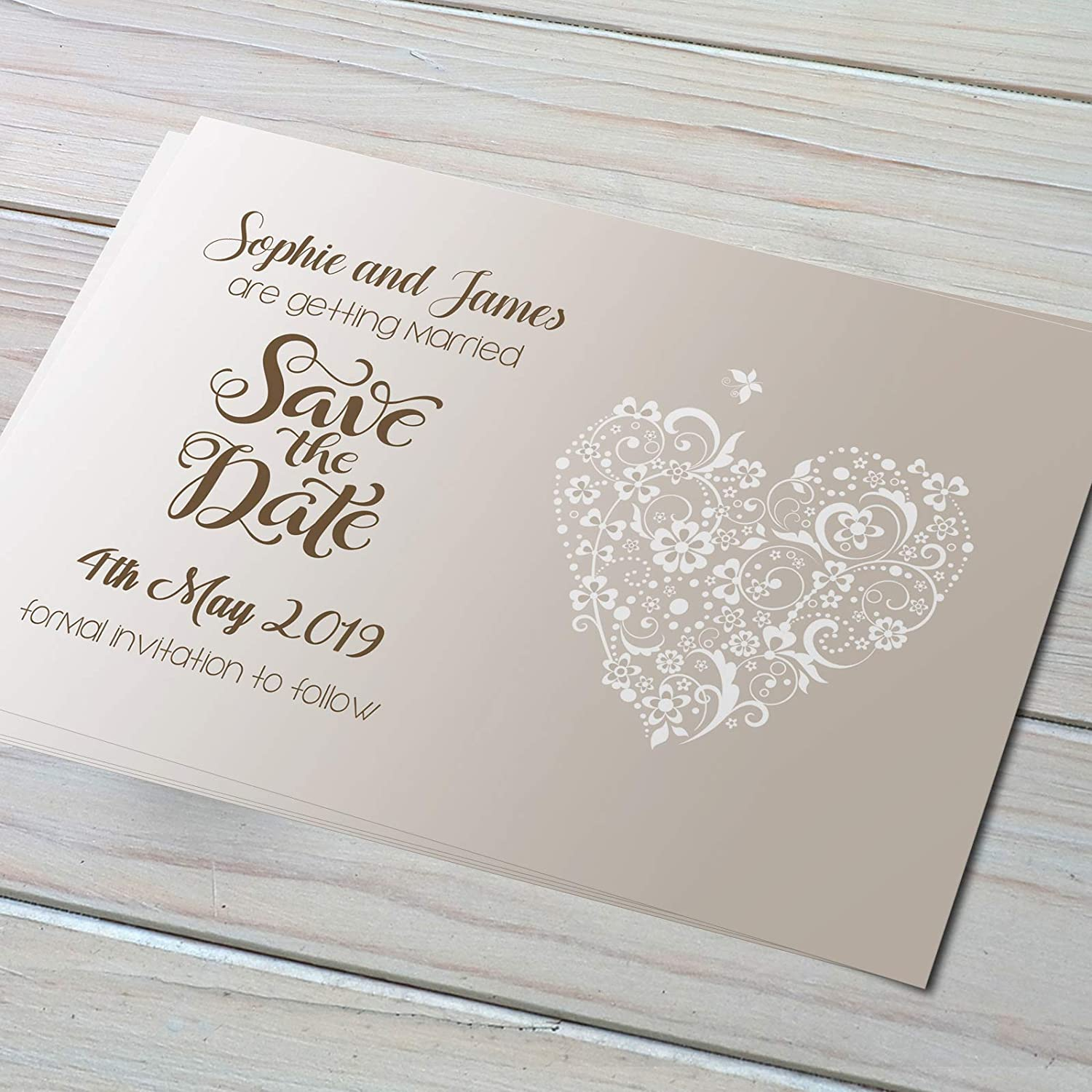 80 Personalised Save The Date Cards inc Envelopes