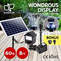 Solar Powered Water Pump | Gardeon Solar Pump Kit with LED Light - 60W Solar Panel and Brushless DC Submersible Pump for Patio, Garden and Pond