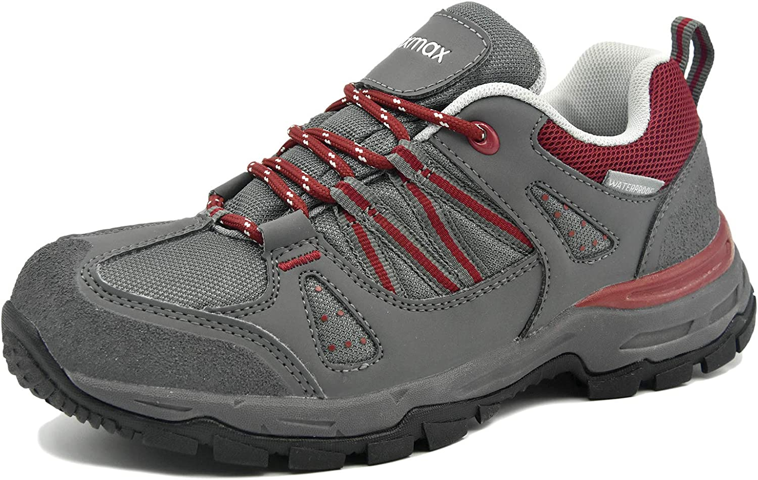 Knixmax Mens Womens Waterproof Hiking Shoes Lightweight Walking Boots Outdoor Trail Trainers