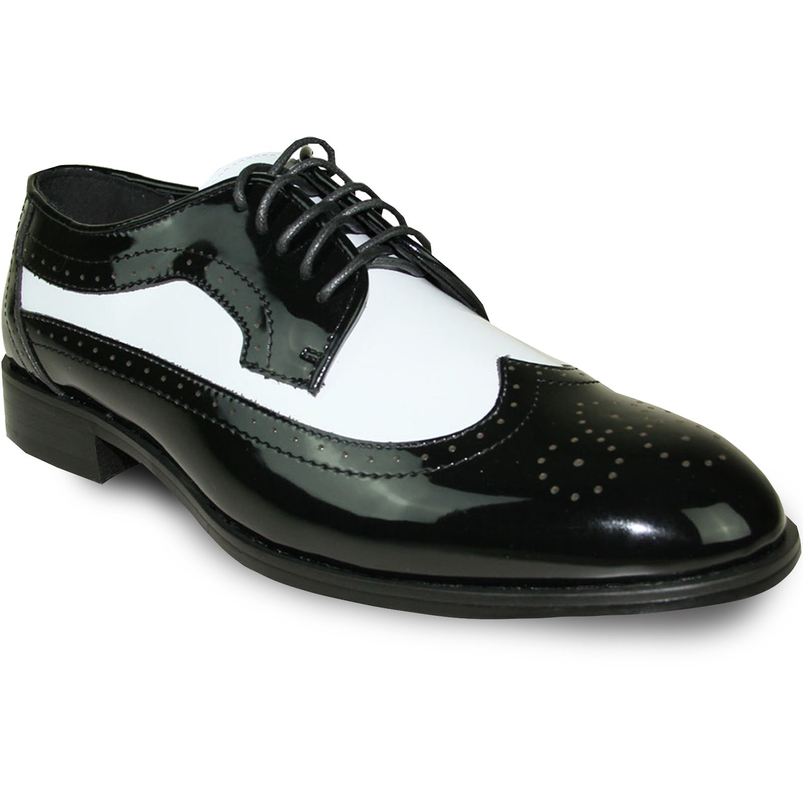 JEAN YVES Dress Shoe JY03 Wing Tip Two-Tone Tuxedo for Wedding, Prom and Formal Event Black&White 17M by Jean Yves