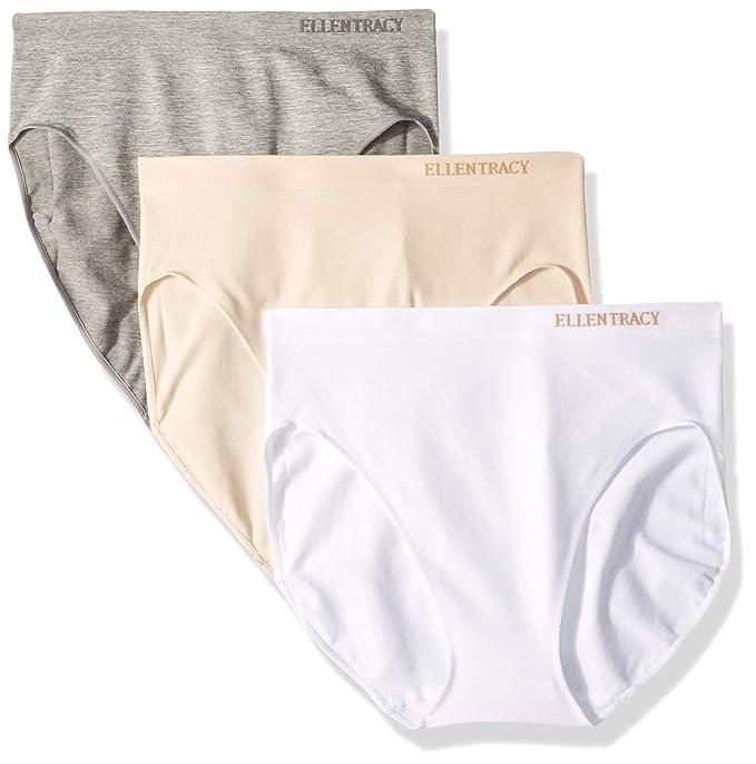 d8993c326560 ELLEN TRACY Women's Hi Cut Seamless Logo Panties, 3 Pack, Heather Grey/White