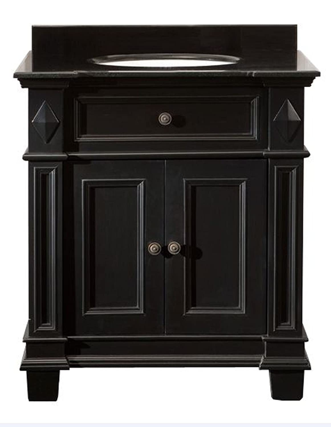 Ove Decors Essex VB Vanity with Black Marble Countertop with Ceramic Basin,  31-Inch Wide, Espresso - - Amazon.com - Ove Decors Essex VB Vanity With Black Marble Countertop With Ceramic