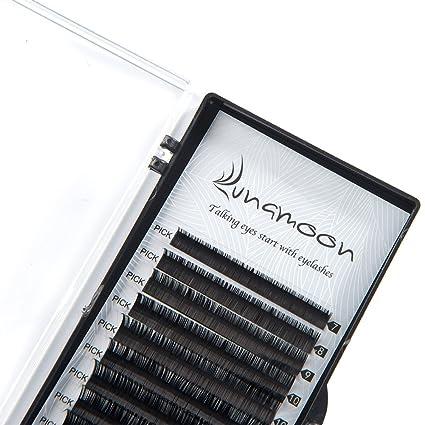 Lunamoon Extensión de Pestañas Postizas Individuales Natural Pestañas Falsas de Seda para Salón Profesional Maquillaje C