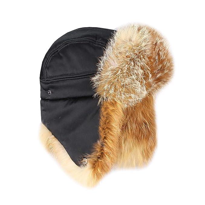Hombre zorro rojo gorro sombrero de aviador Invierno Gorro usch Anka Gorro  de esquí polar Gorro ruso Real--Gorro de pelo  Amazon.es  Ropa y accesorios 1955659b318