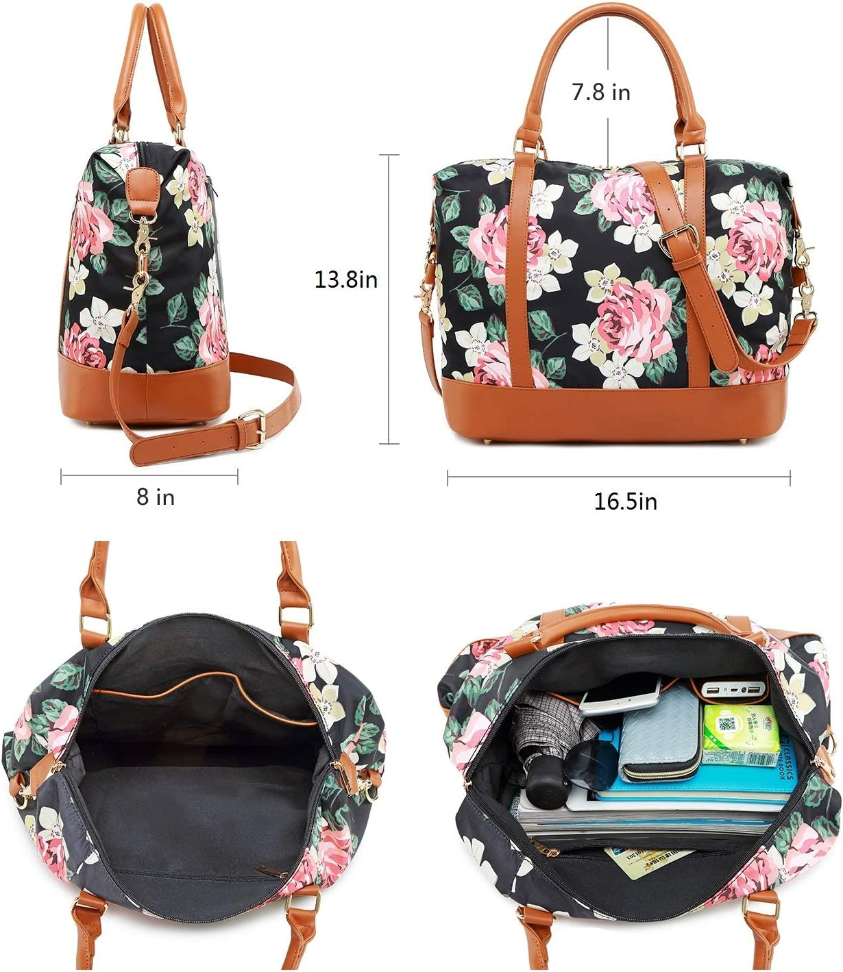 Weekender Overnight Bag Women Travel Tote Floral Water-Resistant Carry On Bags Airplane in Trolley Handle of Suitcase