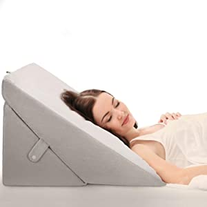 OasisSpace Bed Wedge Pillow, Adjustable 8&12 Inch Folding Memory Foam Sleeping Pillow Incline Cushion System for Legs and Back Pain with Washable Cover - Acid Reflux,Heartburn,Snoring,Reading