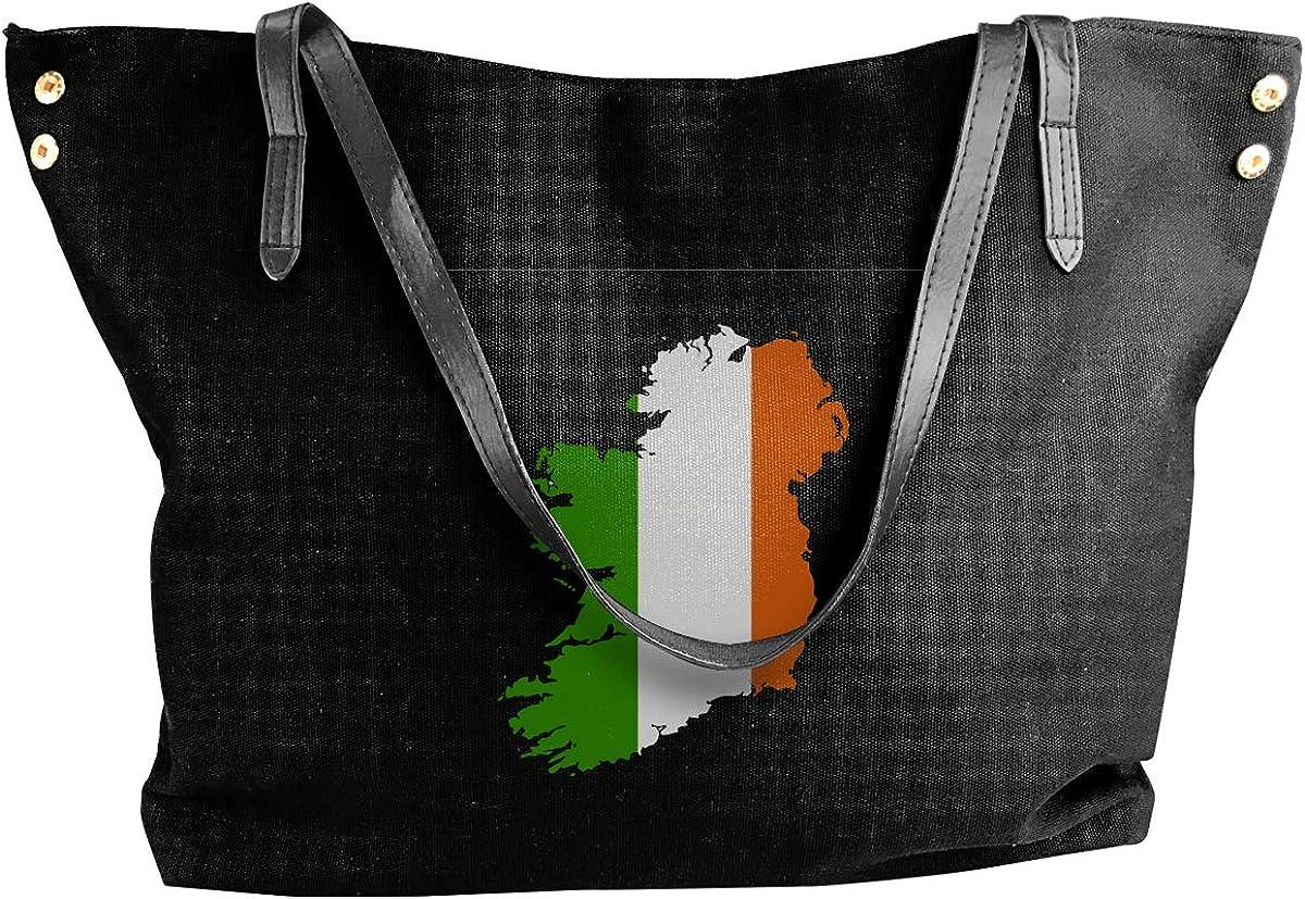 IRELAND MAP AND FLAG Canvas Tote Shoulder Bag HandbagDaily For Womens Black