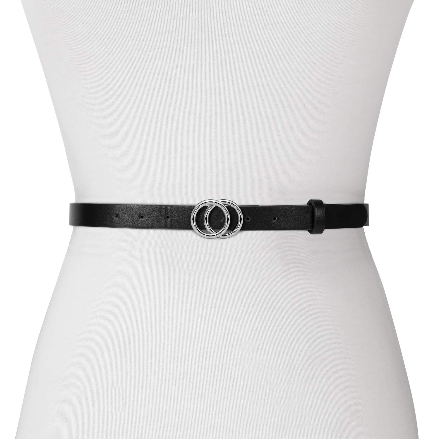 Women Leather Double O Ring Buckle Belt, Fashion Skinny Thin Waist Belt for Jeans Pants Dresses By Whippy