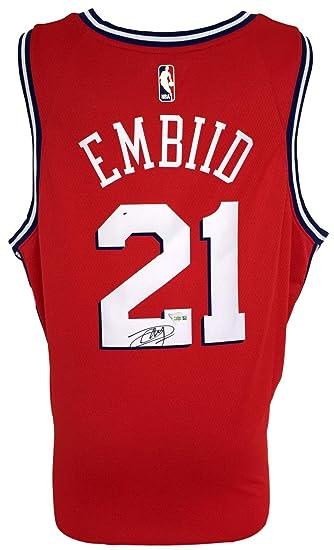 aa237e192 Joel Embiid Signed Philadelphia 76ers Red Nike Swingman Jersey Fanatics  A364835