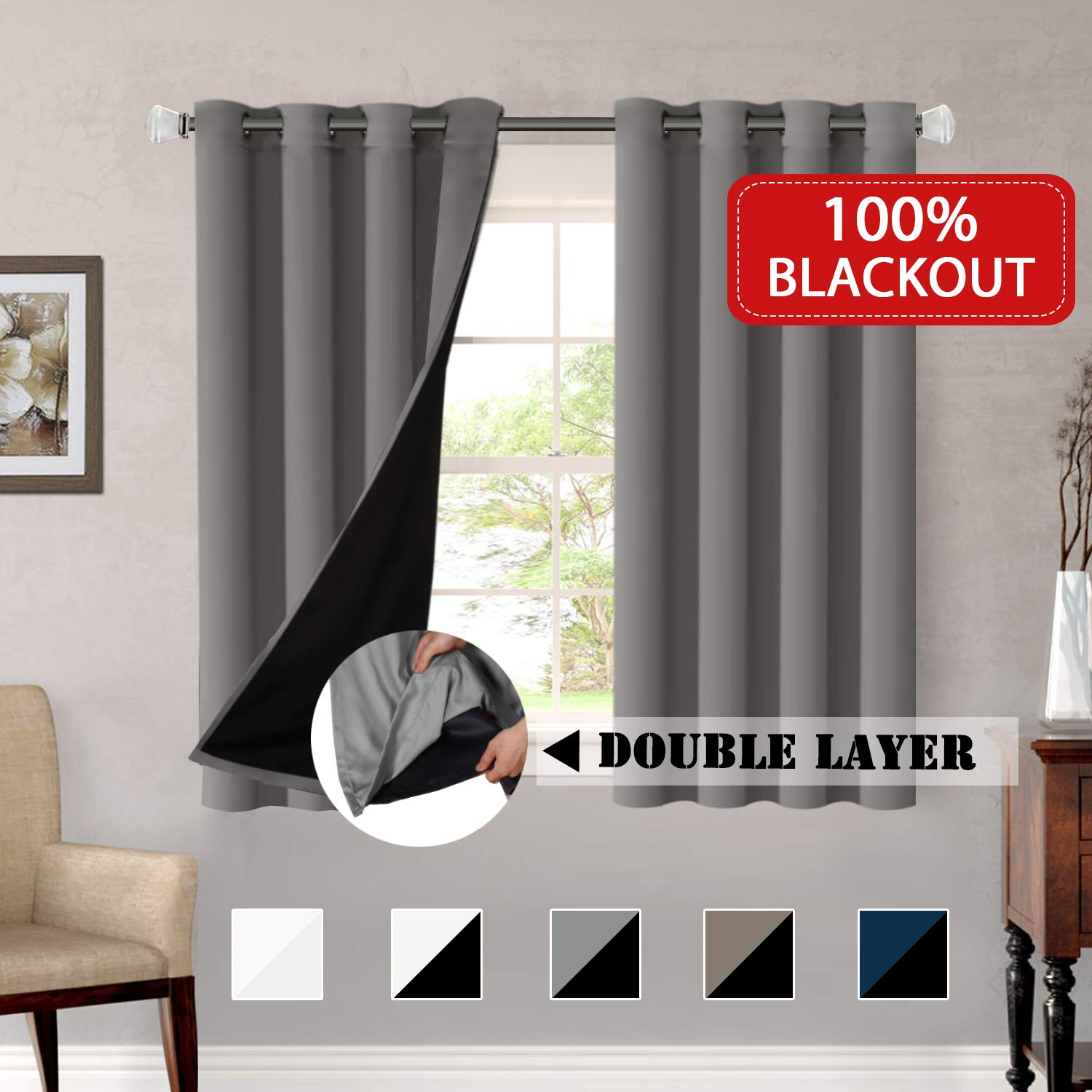 100% Blackout Window Curtain Panels Full Light Blocking Drapes with Black Liner for Bedroom / Living Room, Blackout Curtains 63 Length Primitive Country Decor Thermal Insulated (Grey, Sold by Pair)