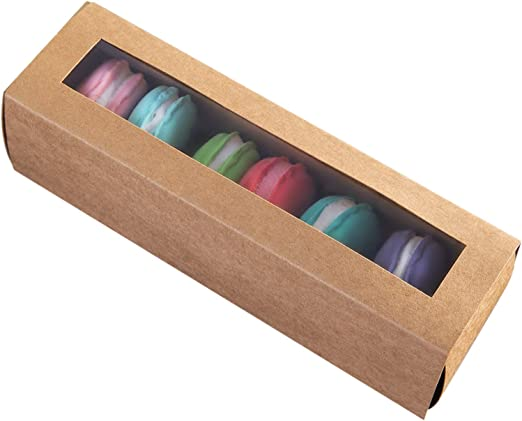 Macarons Caja para 6 Macaron Container Macaroon cajas de embalaje con ventana transparente 4.9 pulgadas × 2.1 pulgadas × 2.1 pulgadas (15, marrón): Amazon.es: Hogar