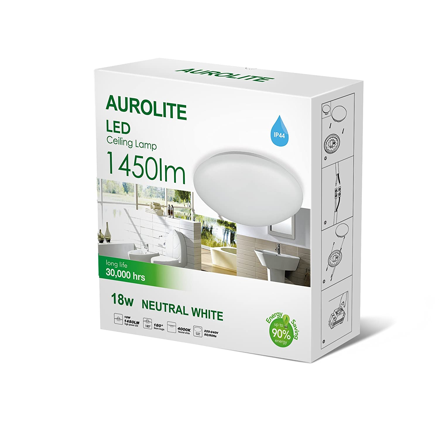 AUROLITE LED 18W IP44 Ceiling Lights, Ø 26cm, 4000K, 1450LM, Lighting for Bathroom, Kitchen, Hallway, Office, Flush Ceiling Light, Bath Ceiling Light, High Quality, 1 Year Warranty -18W 4000K- [Energy Class A+]