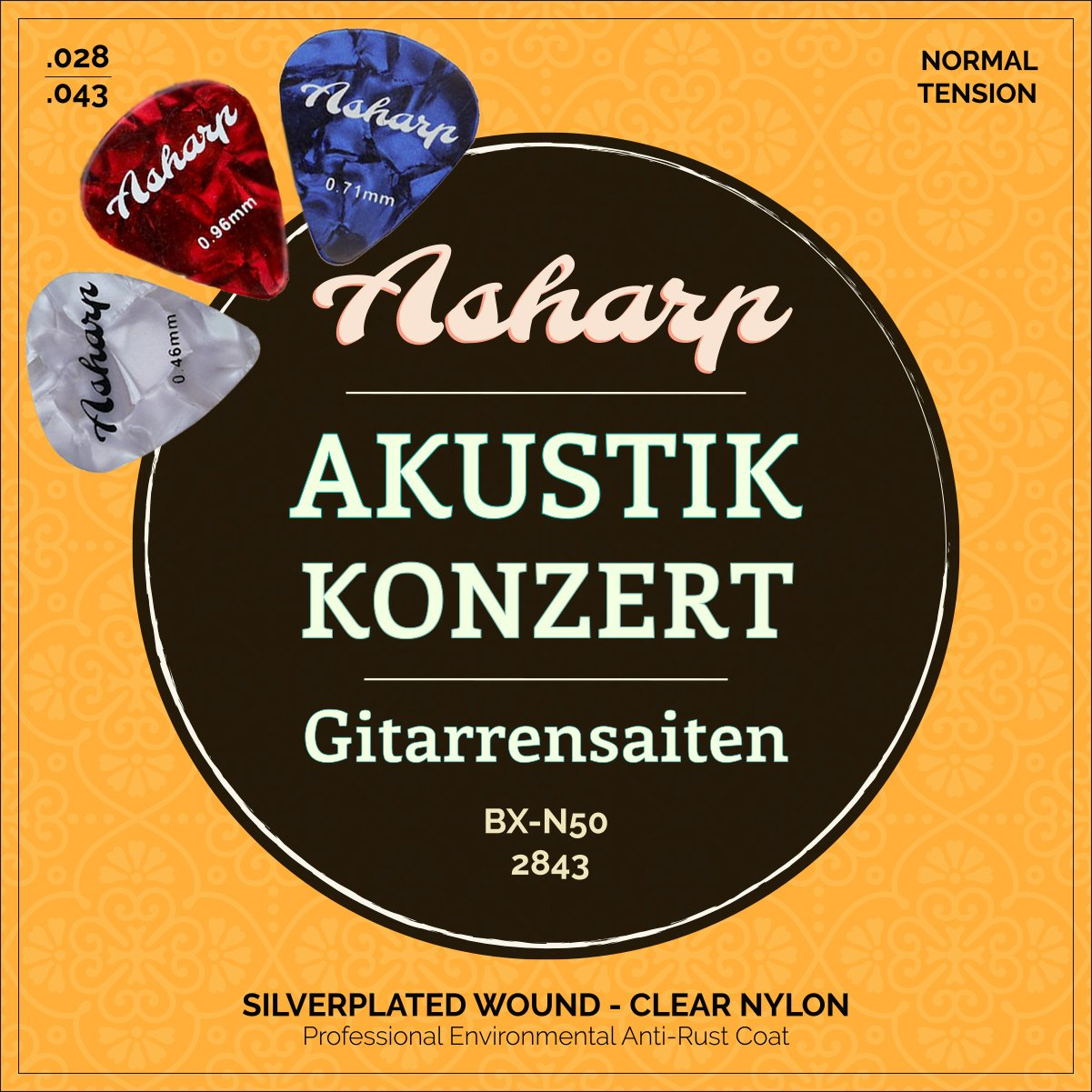 Asharp Gitarrensaiten für klassische Gitarre inkl. 3 Plektren – Premium Nylon-Saiten Satz für Konzertgitarre und Akustikgitarre BX-N50