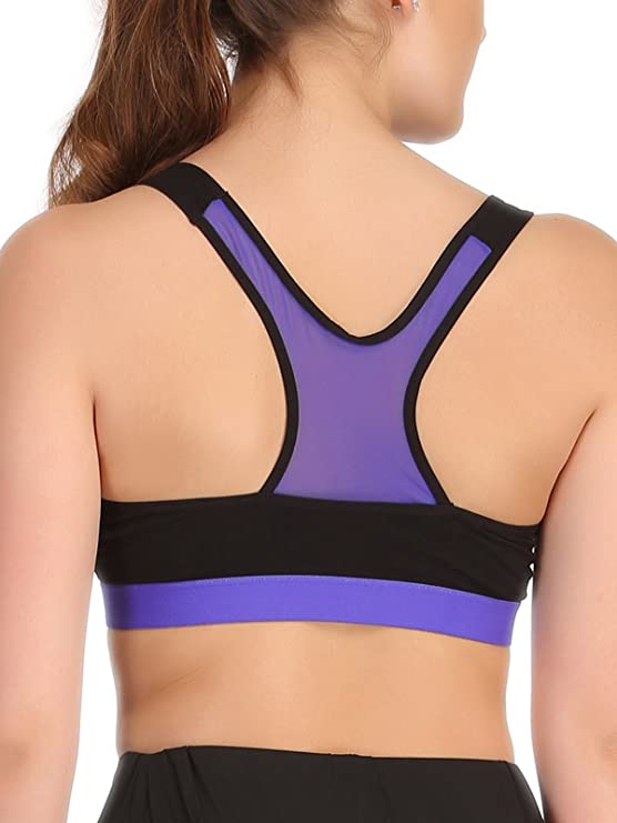 5eafaf8cdc0b8 Clovia Women s Cotton Padded Sports Bra in Black with Royal Blue Broad  Elastic  Amazon.in  Clothing   Accessories