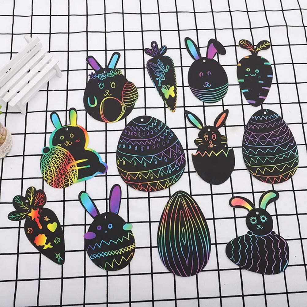 nuoshen 48 Pieces Scratch Art Magnets,Easter Animal Scratch Art Magnets with Ribbon and Wooden Stylus