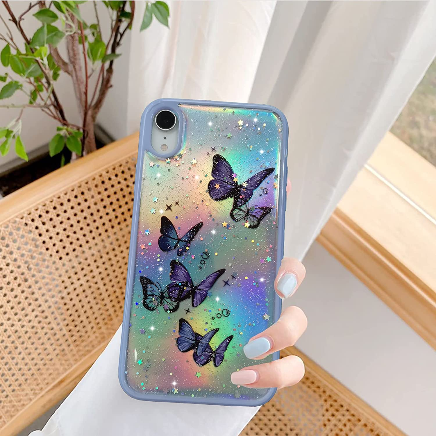 YKCZL Compatible with iPhone X/XS Case for Cute Glitter Bling Aurora Star Butterfly Pattern for Girls Woman,Soft TPU Slim Shockproof Protective Case for iPhone X/XS(iPhone X/XS-5.8 inch, Purple)