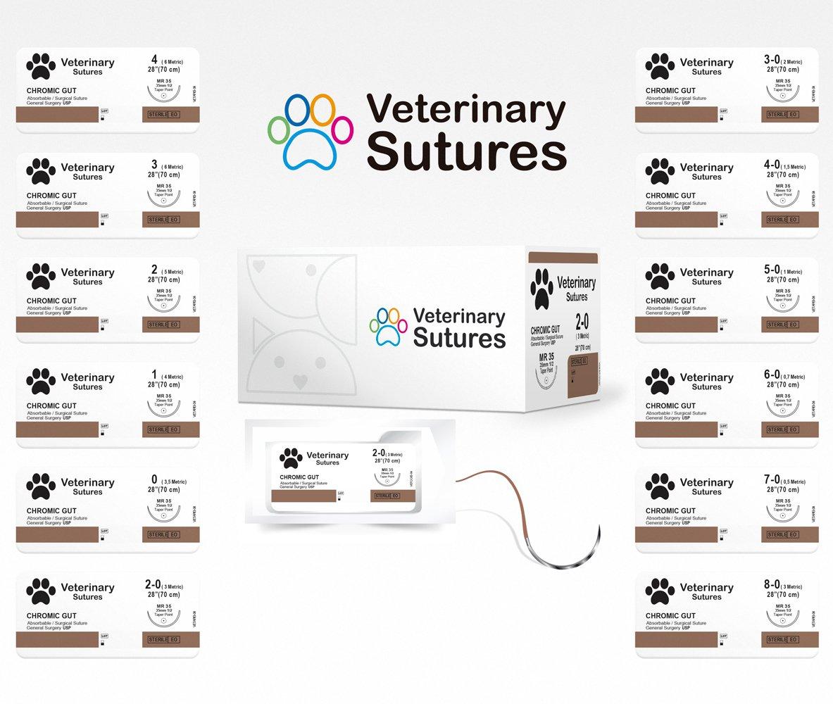 Veterinary Sutures Chromic Gut 2-0, 1/2 round 25mm needle