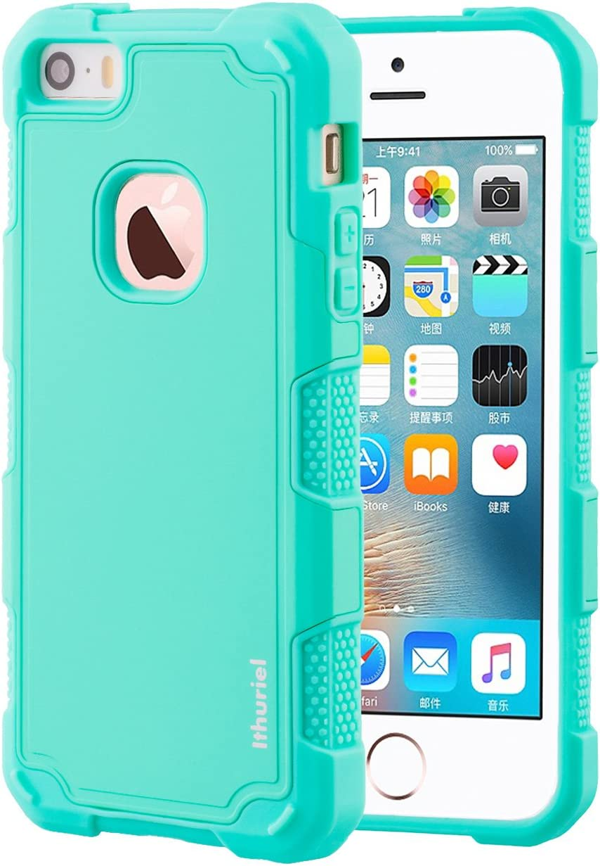 iPhone SE Cover,iPhone 5s 5 Case Ithuriel Soft TPU+Hard PC Shock-Absorption Non-Slip Cute Phone Protection Cover for Apple iPhone SE 5s 5 Cases (Light Green)